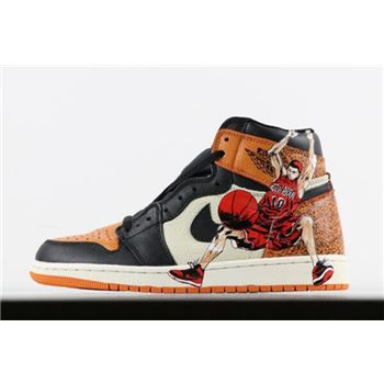Air Jordan 1 Retro High OG Shattered Backboard Hanamichi Sakuragi Print Men's Basketball Shoes