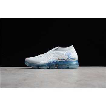 Nike WMNS Air VaporMax Flyknit 2.0 Coloured Drawing White Blue Running Shoes