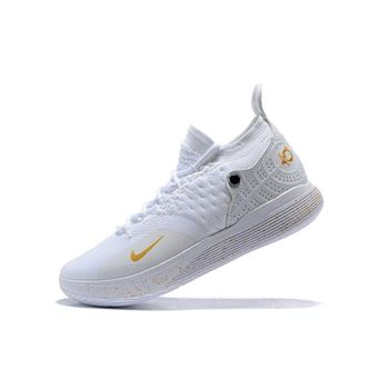 Men's Nike KD 11 White/Metallic Gold Basketball Shoes On Sale