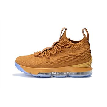Custom Nike LeBron 15 Metallic Gold Men's Basketball Shoes