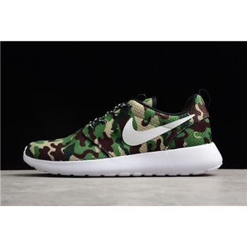 Nike Roshe Run ID White/Camo Green Running Shoes 943711-885