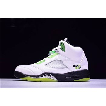 New Air Jordan 5 Retro Quai 54 White/Black-Metallic Silver-Radiant Green 467827-105
