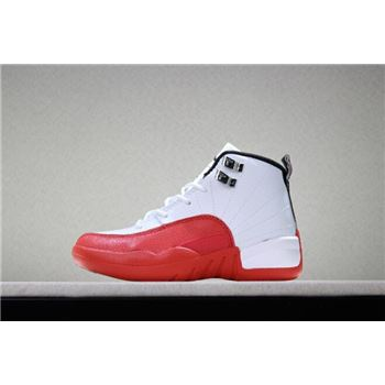 Kid's Air Jordan 12 Cherry White/Gym Red Basketball Shoes