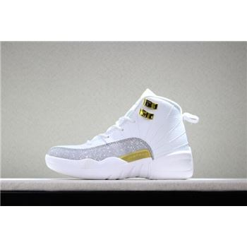 Kid's Air Jordan 12 OVO White White/Metallic Gold