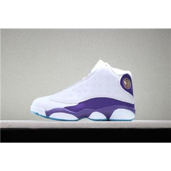 Kid's Air Jordan 13 Hornets PE White Purple Basketball Shoes
